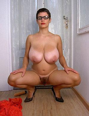 Amazing mature big tits hairy pussy
