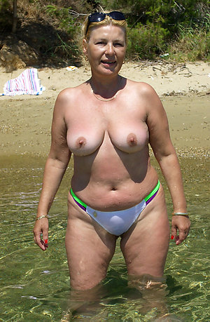 Naked mature beach tits